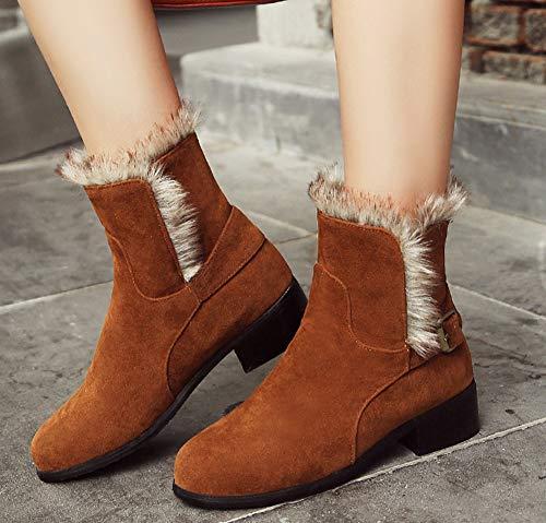 Bottines Chunky Mode Low Boots Femme Jaune Aisun Fourrée Chaud Talon Fdqd4wf