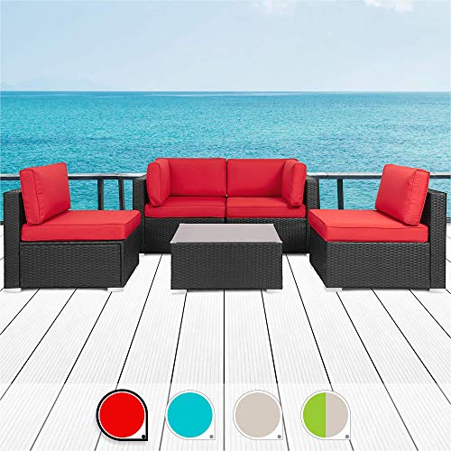 Walsunny 5pcs Patio Outdoor Furniture Sets,Low Back All-Weather Rattan Sectional Sofa with Tea Table&Washable Couch Cushions (Black Rattan) (Red) (Clearance Sets Outdoor Furniture)