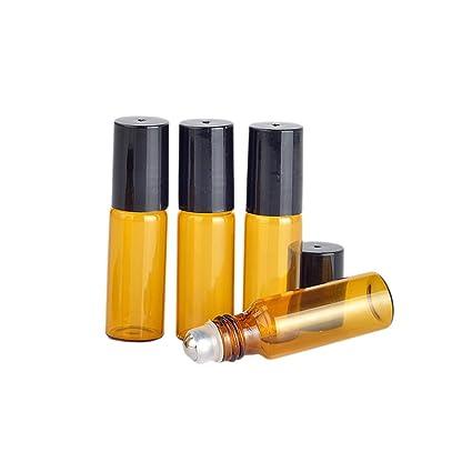 20 Conjuntos Mini rodillo de cristal ámbar Botella vacía Perfume Aceite Esencial botellas de metal Roller