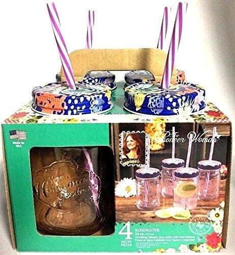 The Pioneer Woman Rosewater 16 Oz Drinking Mason Jars with Blue Floral Lids And Straws