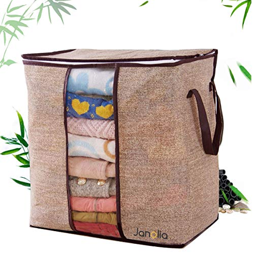 Janolia Clothes Storage Bag, Blanket Quilts Bag, Foldable Organizers Closet, Eco Friendly Bamboo Non-Woven Fabric, Breathable Anti Bacterial, Anti Mites and Mold (Brown)