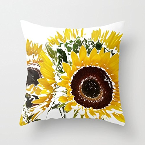 wendana Square Sunflowers Throw Pillow Cover Decorative Cushion Cover 18 x 18 for Home Decor Living Room Sofa
