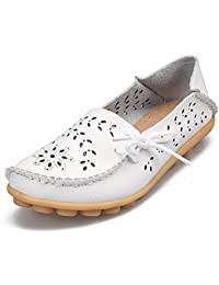 Women's Leather Casual Loafers Driving Moccasin Flats Slip-on Slipper Shoes