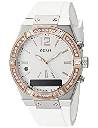 Guess Women's Stainless Steel Connect Smart Watch - Amazon Alexa, iOS and Android Compatible iOS and Android Compatible, Color: White (Model: C0002M2)
