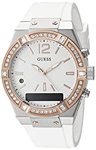 GUESS Women's CONNECT Smartwatch with Amazon Alexa and Silicone Strap Buckle - iOS and Android Compatible - White