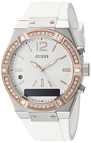 GUESS Women's Stainless Steel Connect Smart Watch - Amazon Alexa, iOS and Android Compatible iOS and Android Compatible, Color: White (Model: C0002M2) ()