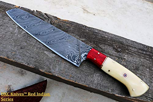 """DKC-187-ST-DS Red Indian Santoku Chef Damascus Steel Chef Knife 12.5""""Long 8"""" Blade 11 Oz"""