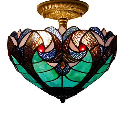 12C Tiffany Ceiling Light Fixture Semi Flush Ceiling Lamp 12 Inch Stained Glass Shade for Dinner Room Pendant 1 Light (S160G - Yellow Shade Glass Light