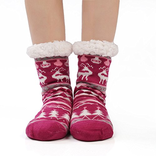 Termici Invernali Calze Rosso Morbidi Caldo Calzini Natale Donna Antiscivolo A Ultra Cervo Con Pantofola Suola Jarseen zgqxSFpw0n