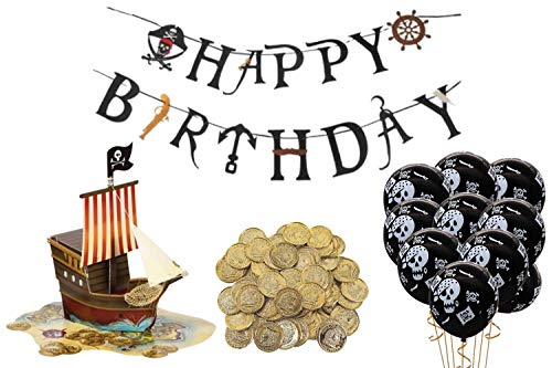 Pirate Birthday Party Decorations- Pirate Party Supplies 2 Pop Up Pirate Ship Centerpieces, 50 Gold Coins, Balloons and Happy Birthday Banner