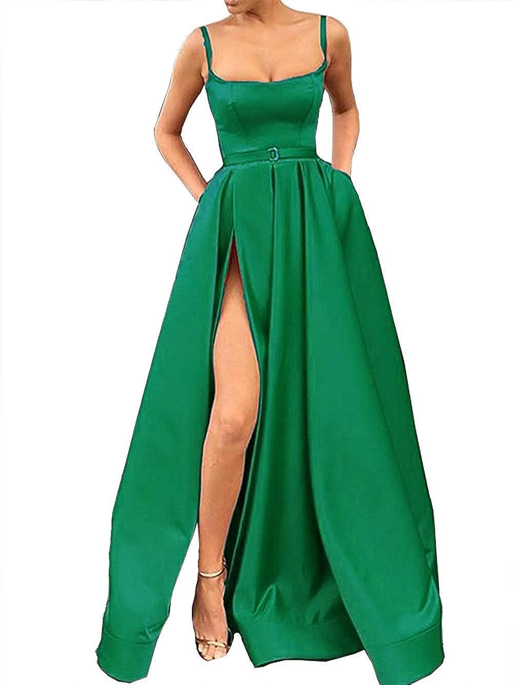 Green XSWPL Sexy Side Split Prom Dresses Long Spaghetti Straps Satin Evening Dress with Pockets