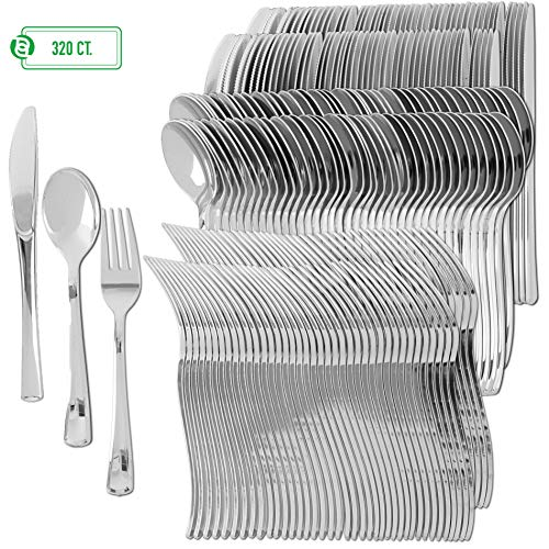 Plastic Silverware | Heavy Duty & Solid Cutlery Disposable Utensils Set | Perfect for Weddings, Buffets, Luncheon & More | 160 Forks, 80 Spoons & 80 Knives Combo Pack | 320 Count ()