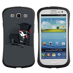LASTONE PHONE CASE / Suave Silicona Caso Carcasa de Caucho Funda para Samsung Galaxy S3 I9300 / Pirate Art Skull Hacker Parrot Black