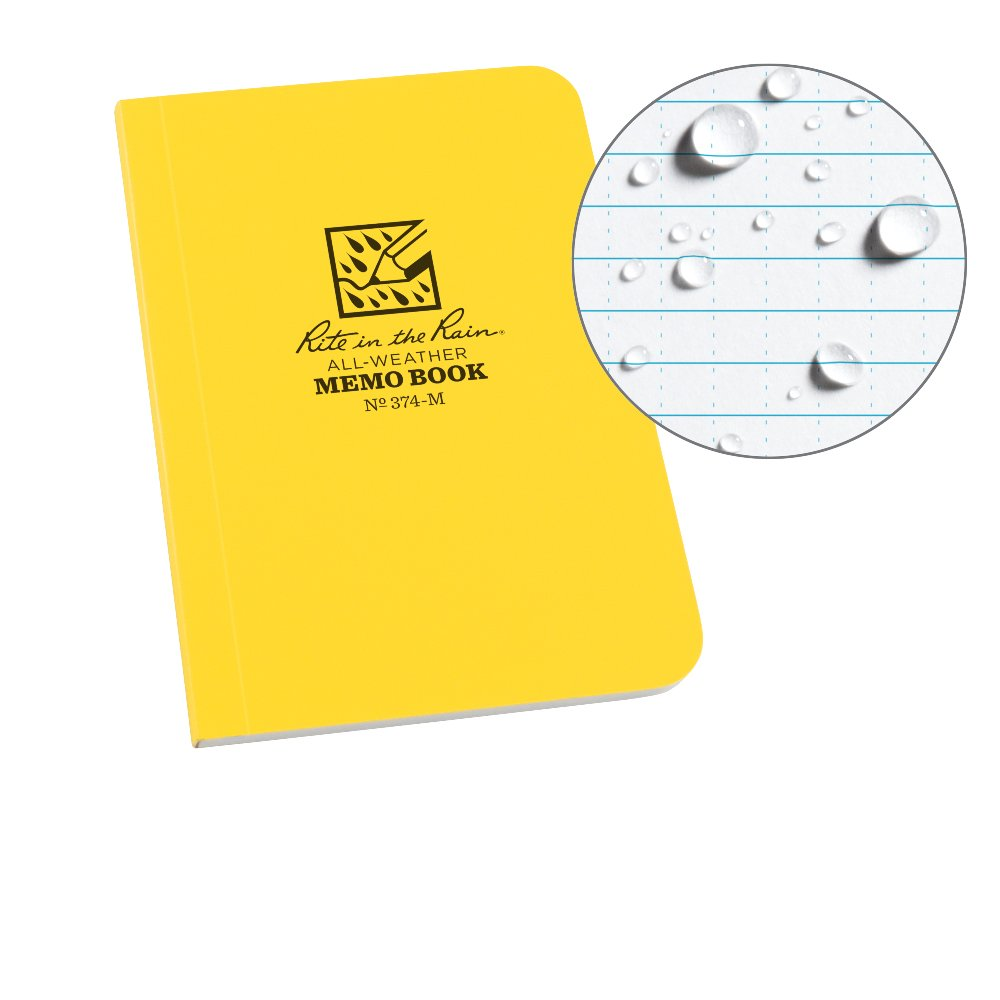 Rite in the Rain Weatherproof Soft Cover Notebook, 3 1/2 x 5, Yellow Cover, Universal Pattern (No. 374-M) 3 1/2 x 5