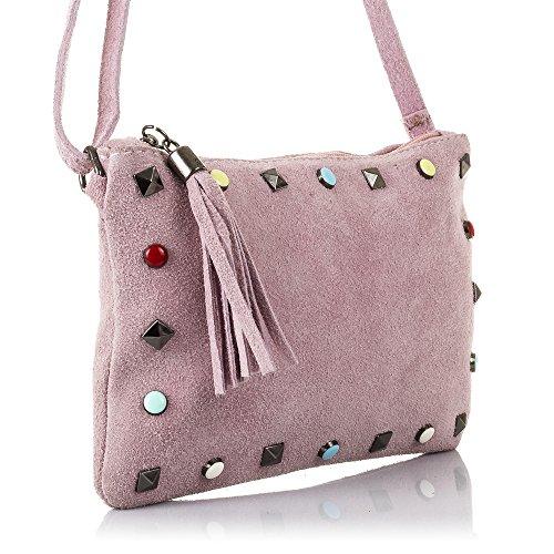 VERA BEIS GAMUZA Vintage de ARTEGIANI ITALIANA Bolso MADE ITALY Fornituras Rosa Color Bolso IN Retro auténtica PELLE cuero FIRENZE genuino Bolso piel bandolera mujer 23x16x3 cm 7USxEAqnAv