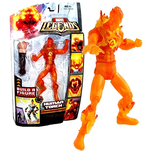 Hasbro Year 2008 Marvel Legends Exclusive Limited Edition Build A Figure Collection Ares Series 6 Inch Tall Action Figure - Variant Flame Form HUMAN TORCH with Ares Left - Legends Hasbro 2008 Marvel