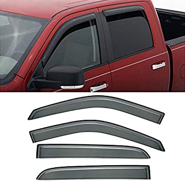 09-10 11 12 13~17 Dodge Ram 1500 CrewCab Acrylic Vent Visors Windows Deflectors