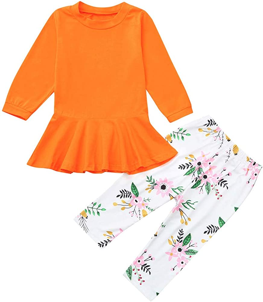 Autumn Warm Solid Ruffles Tops Dresses Print Floral Pants Sets 2PCS Outfit Set for Baby Boys Girls