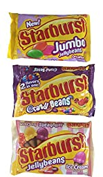 Starburst Variety bundle - 1 package each of Starburst Jumbo Jellybeans, Ice Cream Flavors, and Crazy Beans