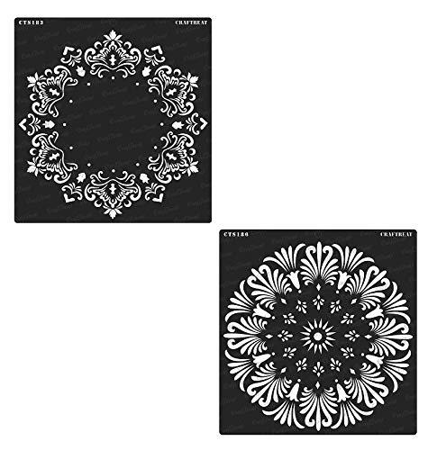 (CrafTreat Stencil - Hexagon Doily & Tuberose Doily (2 pcs) | Reusable Painting Template for Home Decor, Crafting, DIY Albums, Scrapbook and Printing on Paper, Floor, Wall, Tile, Fabric, Wood 12