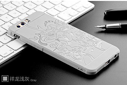 SMTR Huawei P10 plus Funda Silicona, Huawei P10 plus Funda Gel Suave TPU Case - Carcasa Resistente a los Arañazos para Huawei P10 plus -Azul dragón gris