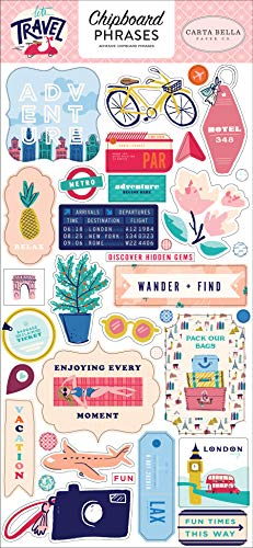 (Carta Bella Paper Company CBLT100022 Let's Travel 6x13 Phrases chipboard Pink, Purple, Orange, Blue, Green, Black)