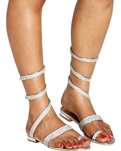 Italina - Women's Casual Open Toe Rhinestone Toe Ring Roman/Gladiator Sandals