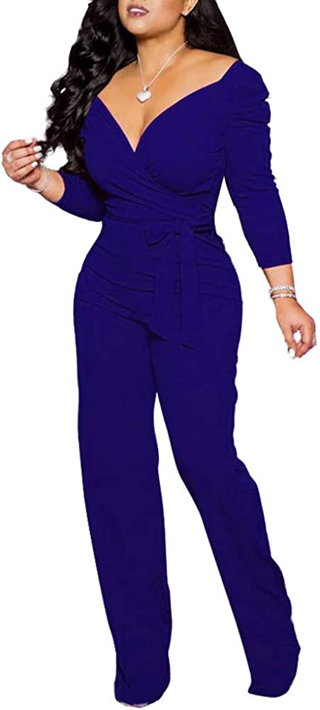 HuiSiFang Womens Elegant Deep V Neck Solid Long Sleeve Jumpsuits High Waist Wide Leg Long Pants Jumpsuit Romper Plus Size Blue