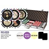Da Vinci Masterworks Poker Chip Set w/500 Chips w/ Denominations, 2 Decks of Cards, 3 Dealer Buttons & 2 Cut Cards