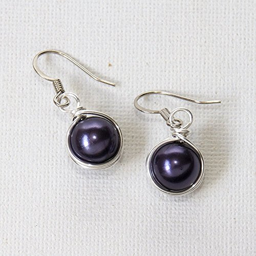 Dark Purple Simulated Pearl Wire Wrapped Dangle Earrings - Handmade Jewelry - Handmade Wire Wrapped Earrings