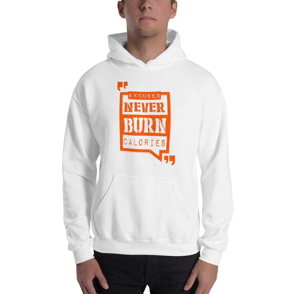 Spicy Cold Apparel Excuses Never Burn Calories Gildan 18500 Mens Heavy Blend Fleece Classic Fit Hooded Sweatshirt