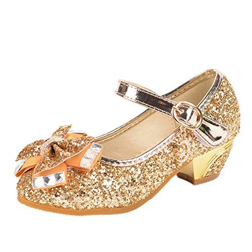 HBOS Kinder Mädchen Schuhe mit Absatz Prinzessin Schuhe Schmetterling Knoten Gelb