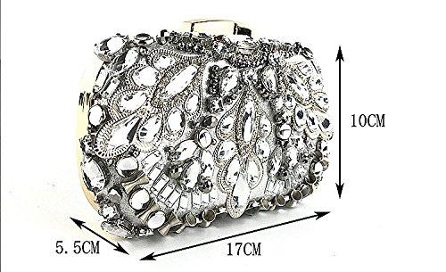 sac bandoulière fourre bandoulière des robe soirée boîte Cheongsam carré Messenger main d'embrayage Silver à avec strass sac à Messenger femmes la sac Sac de Vintage tout Bw6qTT