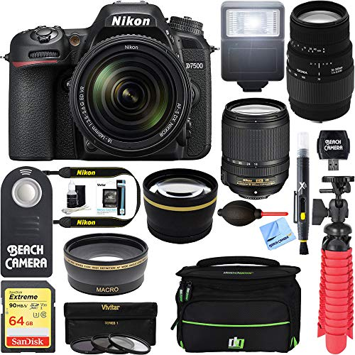 Nikon D7500 Black Digital SLR Camera with 18-140mm VR & 70-300mm f/4-5.6 SLD DG Macro Telephoto Lens + Accessory Bundle