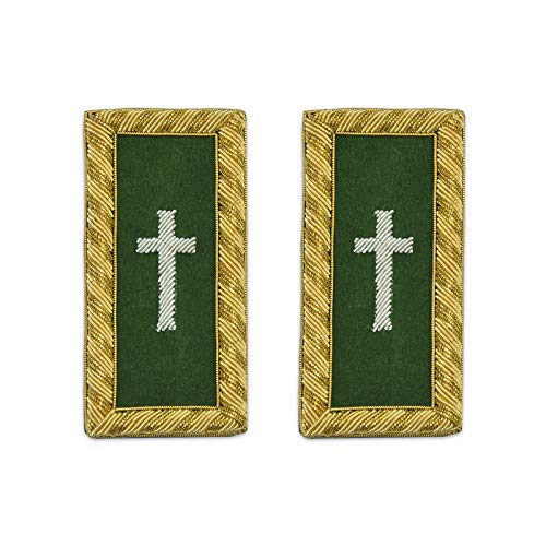 Knights Templar Commander Cross Green and Gold Shoulder Board Pair - 4 3/8