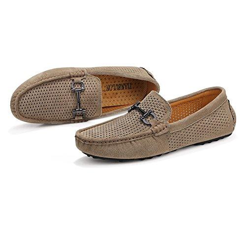 2018 Chaussures Homme d'été Mocassins de Conduite pour Hommes Suede Creux Cuir Véritable Vamp Penny Mocassins Semelle en Caoutchouc Hollow Khaki pDixQ5