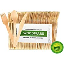 Disposable Wooden Cutlery 250pc Set | 100 Spoons, 100 Forks, and 50 Knives | Eco-Friendly Biodegradable Utensils | 100% All Natural Compostable Birchwood | Parties, Weddings, Picnics, Gatherings |