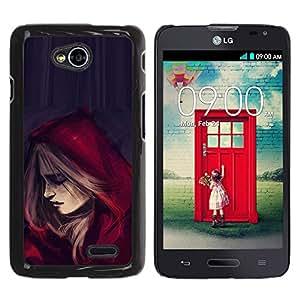 For LG Optimus L70 / LS620 / D325 / MS323 Case , Riding Hood Cape Fashion Woman - Diseño Patrón Teléfono Caso Cubierta Case Bumper Duro Protección Case Cover Funda