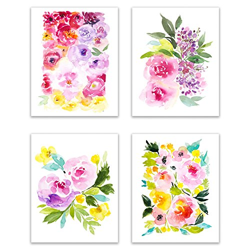 Floral Watercolor Pastel Flower Art Prints - The Beautiful, Bold Peony Collection - Set of Four 8x10 Photos of Colorful Peonies - Bouquets of Pink, White, Red, Purple, Ivory and - Yellow Pink Print Art