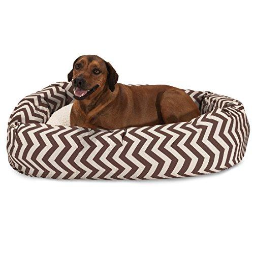 52 inch Chocolate Chevron Sherpa Bagel Dog Bed