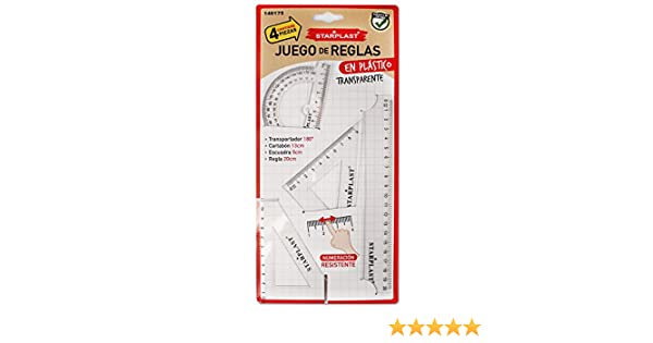 140175 - Pack de 3 Juegos de reglas de 20cm, escuadra, cartabón, semicírculo y regla de 20cm: Amazon.es: Oficina y papelería
