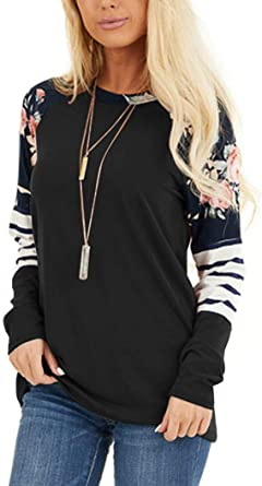 Women Floral Printed Loose Casual Blouse Pullover Tunic Tops Long Sleeve T Shirt