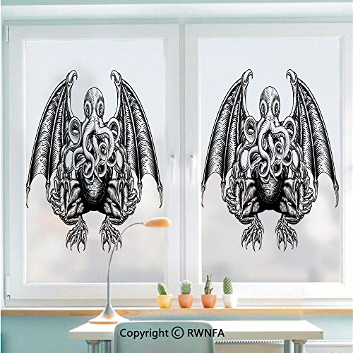 RWNFA Decorative Window Films Kitchen Glass Sticker Cthulhu Monster Evil Fictional Cosmic Monster in Woodblock Style Illustration Waterproof Anti-UV for Home and Office 22.8