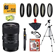 Sigma 18-35mm F1.8 DC HSM ART Lens with UV, CPL, FLD, ND4,+10 Macro Filters and Bundle for Nikon D7100, D7000, D5300, D5200, D5100, D3300, D3200 and D3100 Digital SLR Cameras