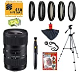 Sigma 18-300mm F3.5-6.3 DC Macro OS HSM Telephoto Zoom Lens with UV, CPL, FLD, ND4,+10 Macro Filters and Bundle for Canon EOS 70D, 60D, 60Da, 50D, 7D, 6D, 5D, 5Ds, Rebel T6s, T6i, T5i, T5, T4i, T3i, T3, T2i and SL1 Digital SLR Cameras