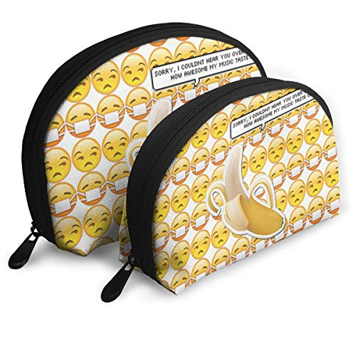 Makeup Bag Emoji Banana Portable Half Moon Beauty Bags Case For ()