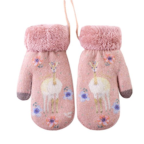 Felice Women Teen Girls Kids Cute Deer Pattern Warm Mittens Thick Lined Gloves With String (pink)