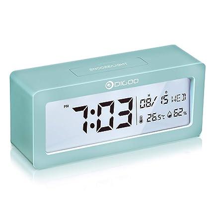 DIGOO Reloj despertador digital, LCD Reloj alarma con pilas con monitor de temperatura y humedad