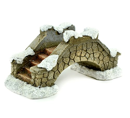 (Touch of Nature Snow Covered Christmas Resin Stone Bridge)