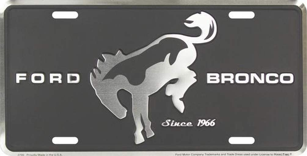HangTime Ford Mustang Metal License Plate 6 x 12 with Black Background
